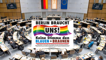 Kampagnenlogo in Berliner Abgeordntenehaus eingebettet