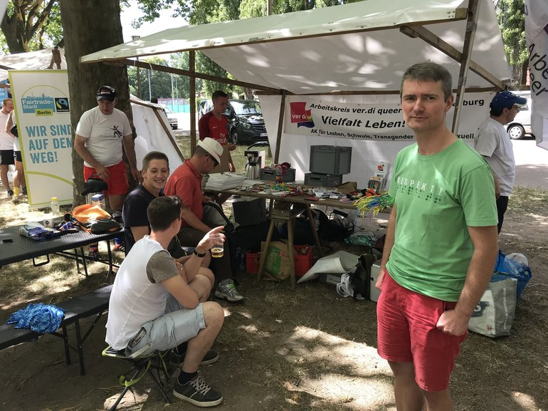 Infostand des AK queer bei den Respect Games 2018
